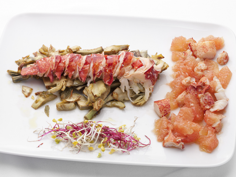 Lobster with crunchy artichokes and grapefruit salad